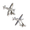Vintage Inspired Fighter Plane Cufflinks in Silver by LINK UP