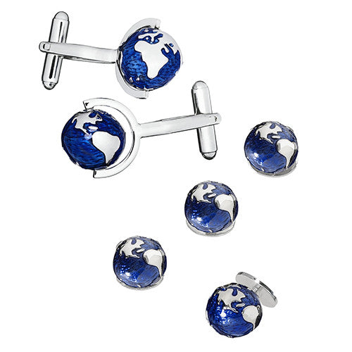 Spinning Globe Tuxedo Cufflink and Stud Set by LINK UP