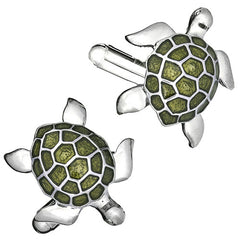 Turtle Cufflinks in Light Green by LINK UP