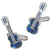Guitar Cufflinks in Blue Enamel by LINK UP