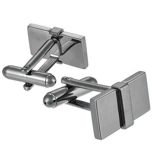 Gunmetal Rectangular Brick Cufflinks by Link Up
