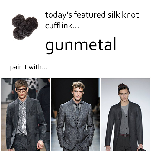Gunmetal Silk Knot Cufflinks by Link Up