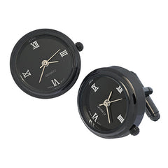 Gunmetal and Roman Numeral Watch Cufflinks from Link Up