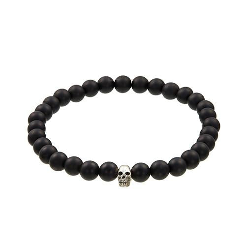 Jan Leslie Beaded Skull Accent Bracelet in Matte Black Onyx