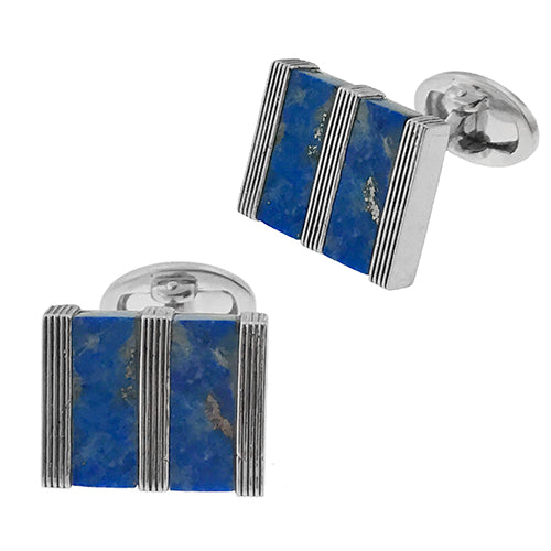 Lapis Stripe Gemstone Rectangle Cufflinks