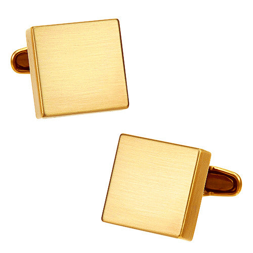 Matte Metallic Square Cufflinks in Gold Tone by LINK UP