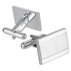 Textured Matte and Shiny Rectangle Cufflinks