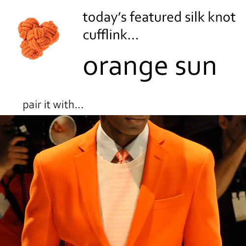 Orange Silk Knot Cufflinks by Link Up