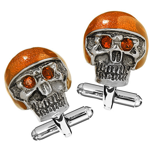 Moto Skull Cufflinks with Orange Helmet and Red Eyes