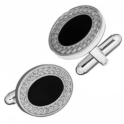 Black Epoxy Oval Cufflink with Woven Edge