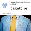Pastel Blue Silk Knot Cufflinks by Link Up