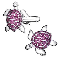 Turtle Cufflinks in Pink by LINK UP