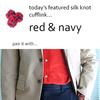 Red and Navy Silk Knot Cufflinks by Link Up