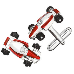 Formula One Racecar Cufflinks in Red by LINK UP