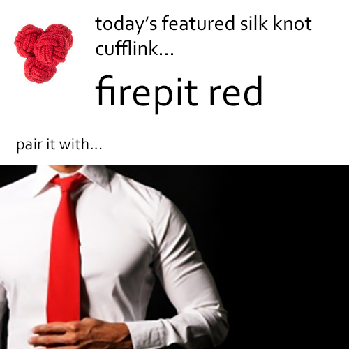 Red Silk Knot Cufflinks by Link Up