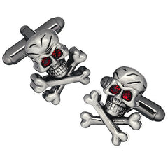 Skull and Crossbone Cufflinks with Red Crystal Eyes by Link Up