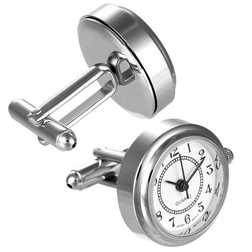 Shiny Silver Watch Cufflinks with White Face