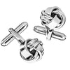 Classic Metal Knot Cufflinks in Silver Tone Finish by LINK UP