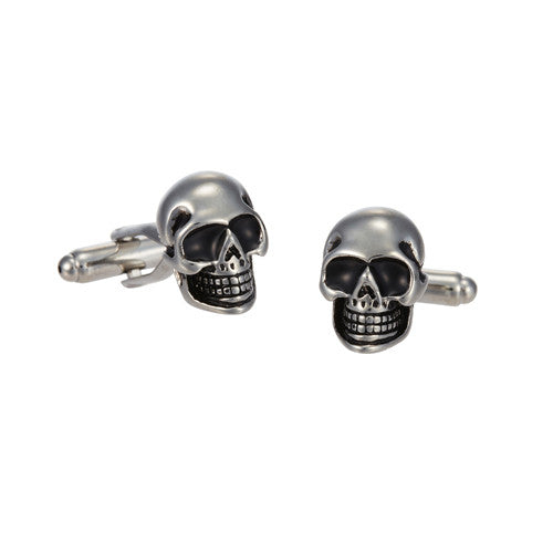 Skull Head Cufflinks with Black Eyes