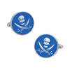 Skull and Swords Button Cufflinks in Blue by LINK UP