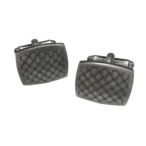 Soft Rectangle with Cross-Etching Cufflinks in Burnished Silver