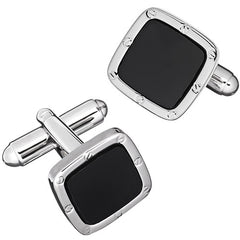 Black Epoxy Soft Square Rivet and Screw Finish Cufflinks by LINK UP