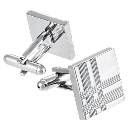 Tartan Plaid Cufflinks in Silver Tone by LINK UP