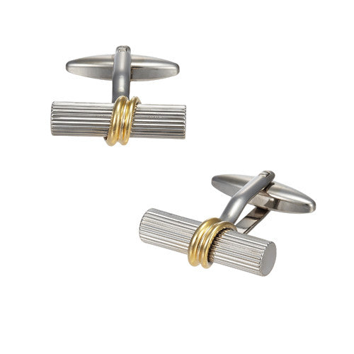 Tube Cufflinks with Wrap Accent by LINK UP