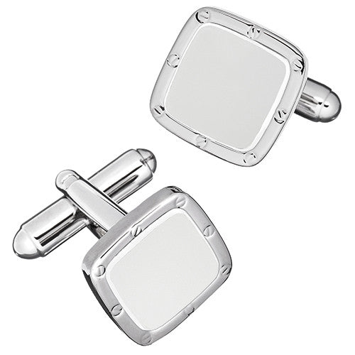 Soft Square Rivet and Screw Finish Cufflinks