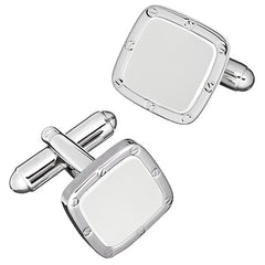 White Enamel Soft Square Rivet and Screw Finish Cufflinks by LINK UP