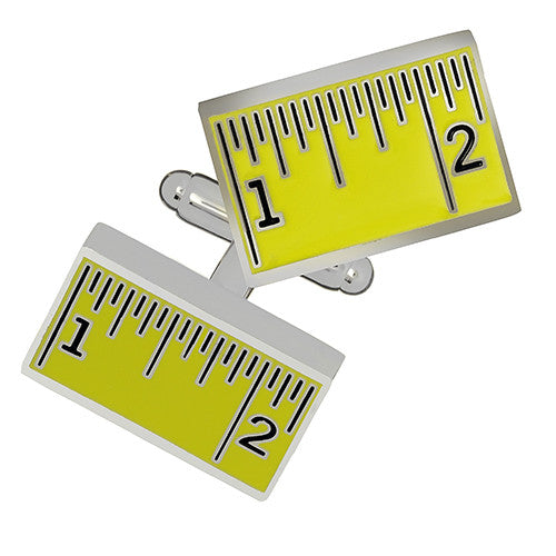 Yellow Measuring Stick Cufflinks by Link Up