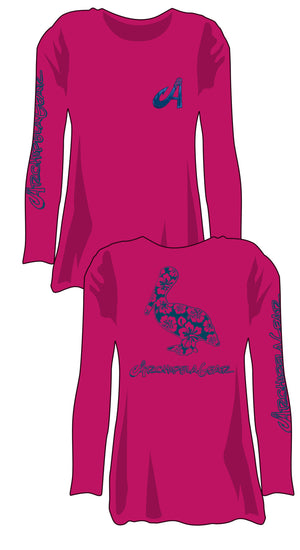 The Hibiscus Pelican - Hot Pink Performance T