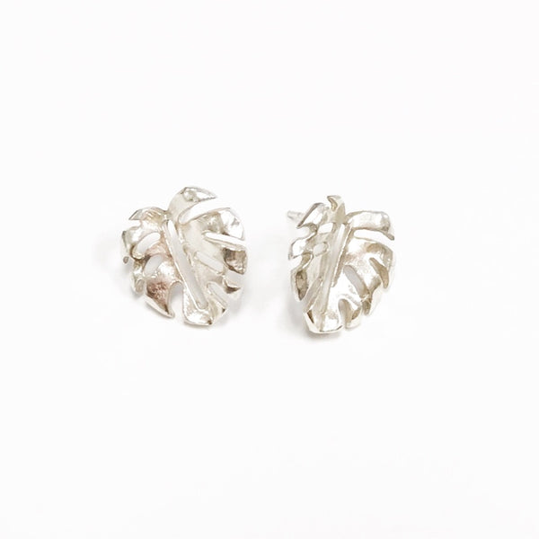 Mini Monstera Leaf Studs - Sterling Silver