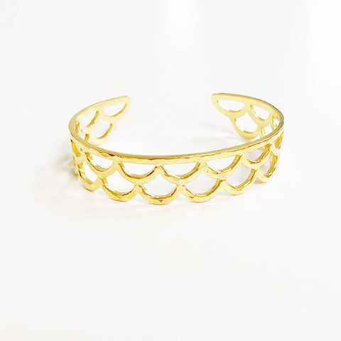 Waimea Mermaid Scale Cuff Braclet (14k Gold Vermeil)