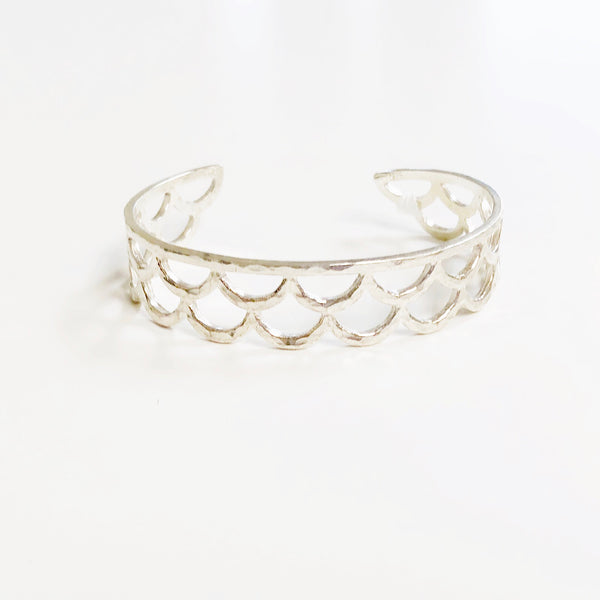 Waimea Mermaid Scale Cuff Bracelet (Sterling Silver)