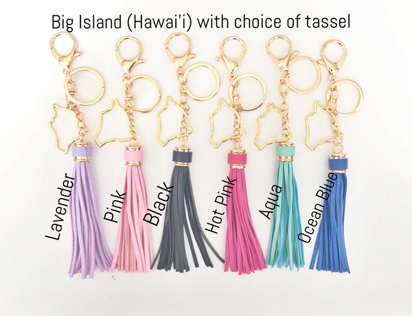 Tropical Big Island of Hawaii Tassel Keychain (Gold Plated)