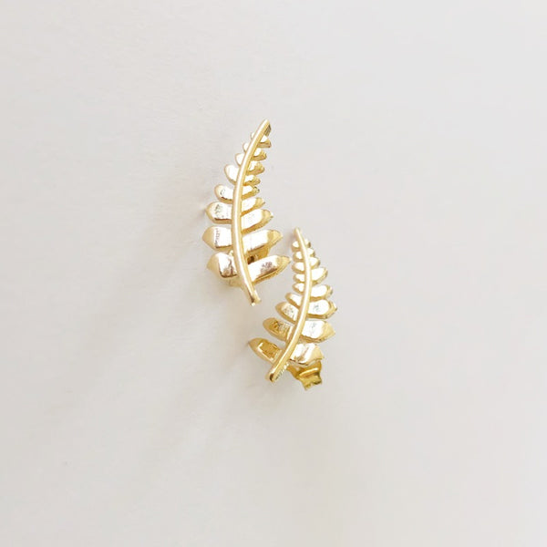 Hawaiian Fern Ear Crawler SOLID 14k Gold