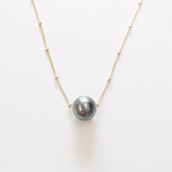 Floating Tahitian Pearl Necklace (Large 9-10 mm Round)