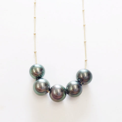 Floating 5-Tahitian Pearl Necklace (Large 9-10 mm Round)