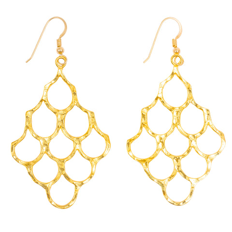 Mermaid Scales Statement Earrings (Gold)