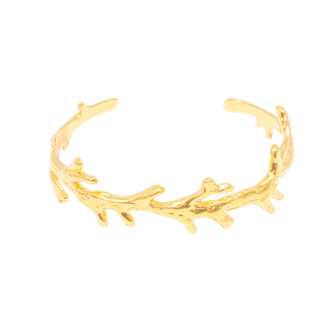 Single Coral Branch Cuff (14k Gold Vermeil)