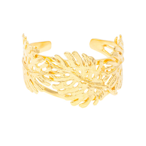 Statement Monstera Leaf Cuff (14k Gold Vermeil)