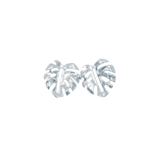 Mini Monstera Leaf Stud Earrings (Sterling Silver)