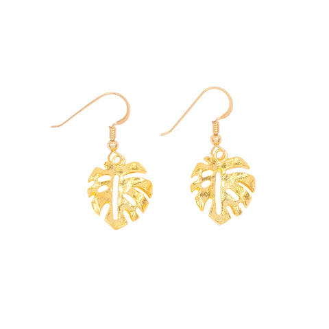Mini Monstera Leaf Drop Earrings (14k Gold Vermeil)