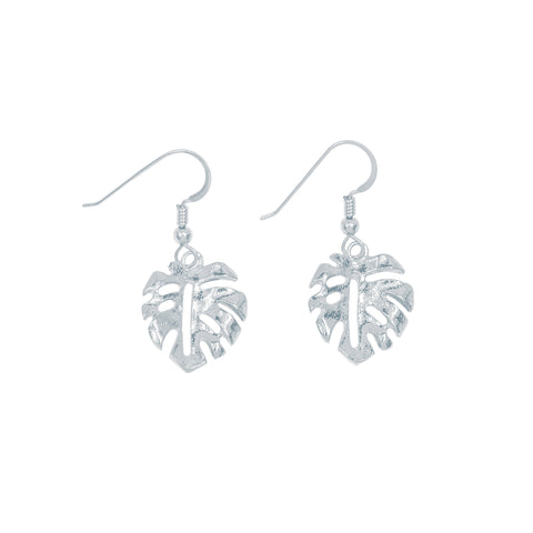 Mini Monstera Leaf Drop Earrings (Sterling Silver)
