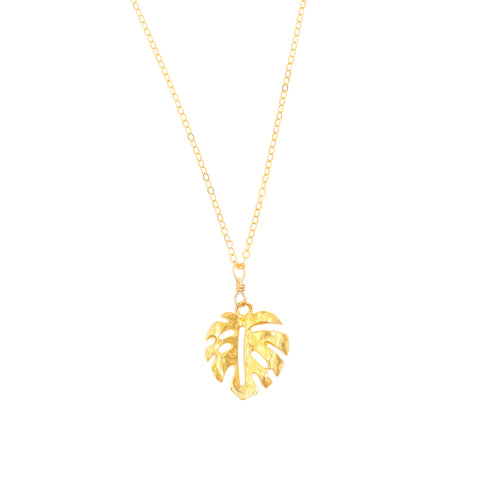 Mini Monstera Necklace (14k Gold Vermeil)