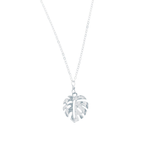 Mini Monstera Necklace (Sterling Silver)