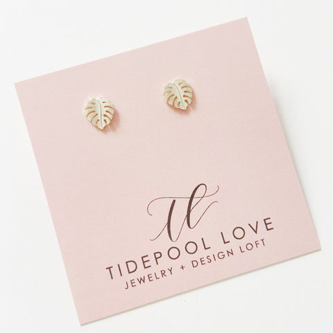 Mini Ko'olau Monstera Leaf Stud Earrings (Sterling Silver)