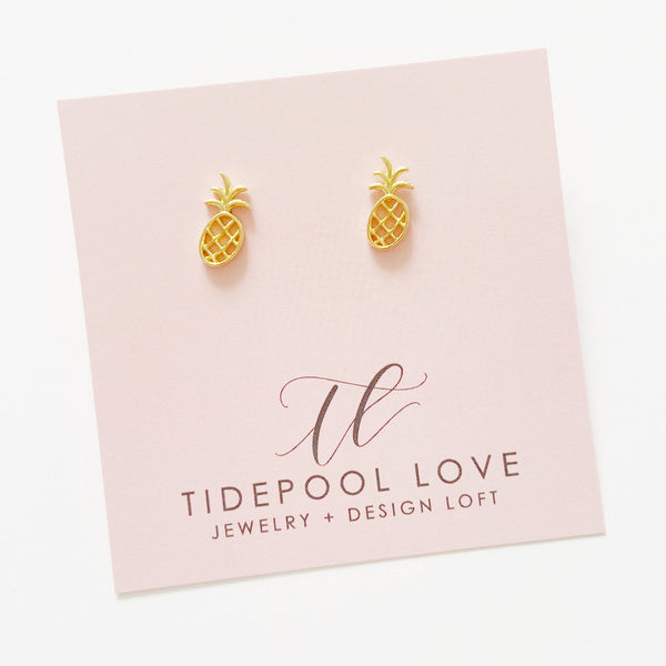 Mini Haleiwa Pineapple Studs (14k Gold Vermeil)