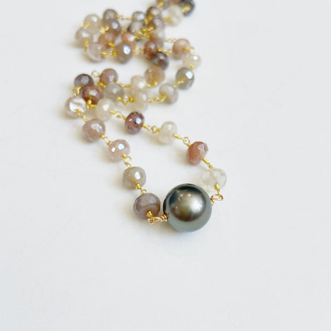 Single Tahitian Pearl + Ombré Moonstone Necklace